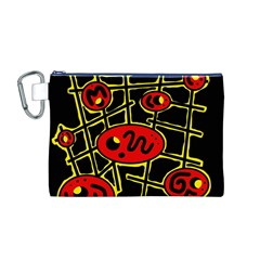 Red and yellow hot design Canvas Cosmetic Bag (M)