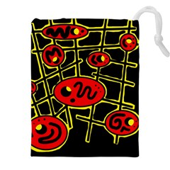 Red And Yellow Hot Design Drawstring Pouches (xxl)