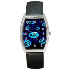 Blue decorative design Barrel Style Metal Watch