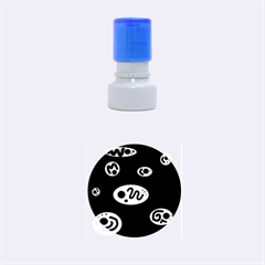 Blue decorative design Rubber Round Stamps (Small)