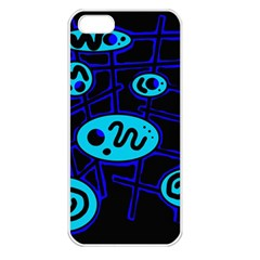 Blue decorative design Apple iPhone 5 Seamless Case (White)