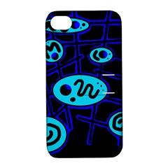 Blue decorative design Apple iPhone 4/4S Hardshell Case with Stand