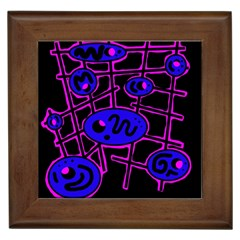 Blue and magenta abstraction Framed Tiles