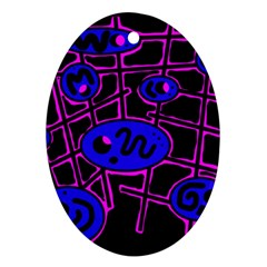 Blue and magenta abstraction Ornament (Oval)