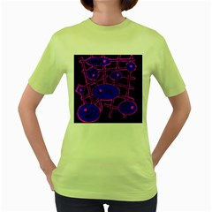 Blue and magenta abstraction Women s Green T-Shirt