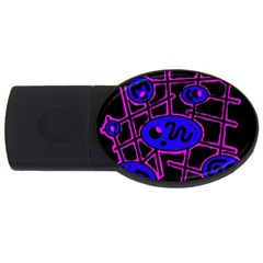 Blue and magenta abstraction USB Flash Drive Oval (2 GB)