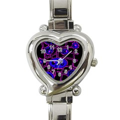 Blue and magenta abstraction Heart Italian Charm Watch