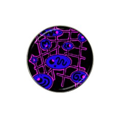 Blue and magenta abstraction Hat Clip Ball Marker