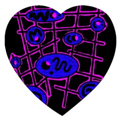 Blue and magenta abstraction Jigsaw Puzzle (Heart)