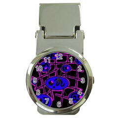 Blue and magenta abstraction Money Clip Watches
