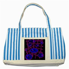 Blue and magenta abstraction Striped Blue Tote Bag