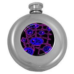 Blue and magenta abstraction Round Hip Flask (5 oz)