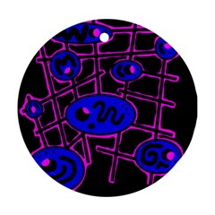 Blue and magenta abstraction Round Ornament (Two Sides)