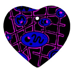 Blue and magenta abstraction Heart Ornament (2 Sides)