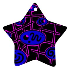 Blue and magenta abstraction Star Ornament (Two Sides)