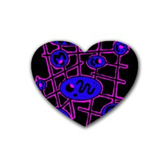 Blue and magenta abstraction Heart Coaster (4 pack)