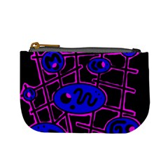 Blue and magenta abstraction Mini Coin Purses