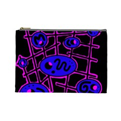 Blue and magenta abstraction Cosmetic Bag (Large)