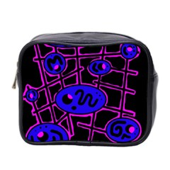 Blue and magenta abstraction Mini Toiletries Bag 2-Side