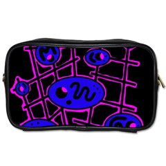 Blue and magenta abstraction Toiletries Bags 2-Side