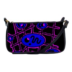 Blue and magenta abstraction Shoulder Clutch Bags