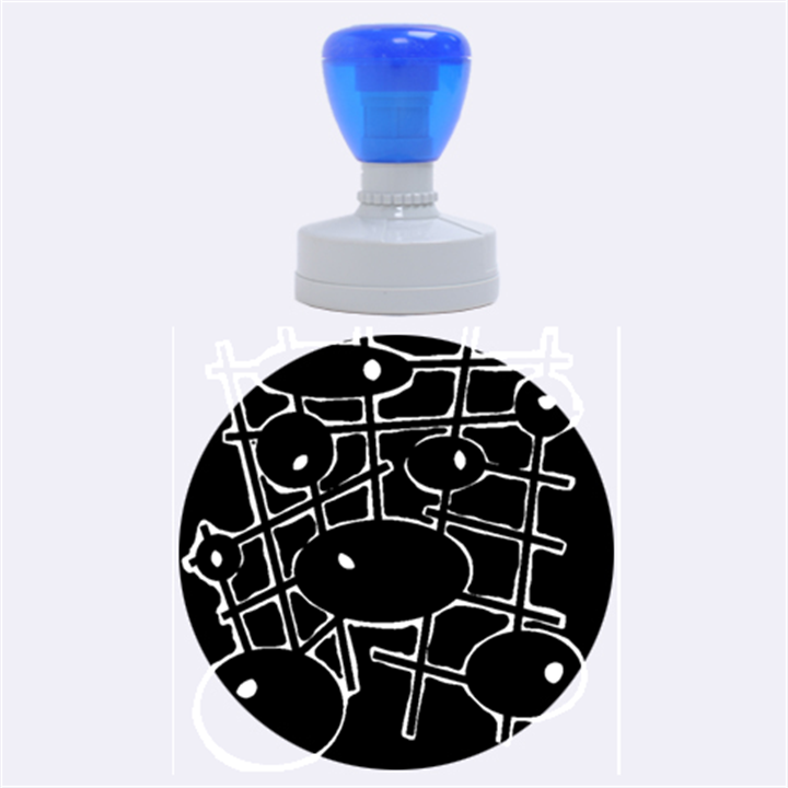 Blue and magenta abstraction Rubber Round Stamps (Large)