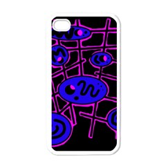 Blue and magenta abstraction Apple iPhone 4 Case (White)
