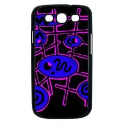 Blue and magenta abstraction Samsung Galaxy S III Case (Black)