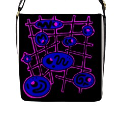 Blue and magenta abstraction Flap Messenger Bag (L)