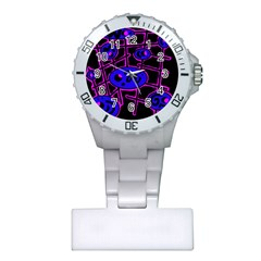 Blue and magenta abstraction Plastic Nurses Watch
