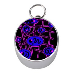 Blue and magenta abstraction Mini Silver Compasses