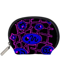 Blue and magenta abstraction Accessory Pouches (Small)