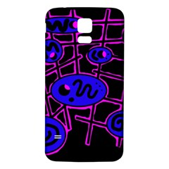 Blue and magenta abstraction Samsung Galaxy S5 Back Case (White)
