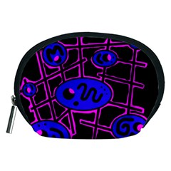 Blue and magenta abstraction Accessory Pouches (Medium)