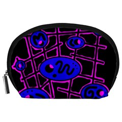 Blue and magenta abstraction Accessory Pouches (Large)