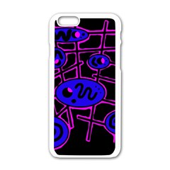 Blue and magenta abstraction Apple iPhone 6/6S White Enamel Case