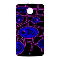 Blue and magenta abstraction Nexus 6 Case (White)