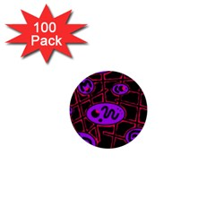 Purple and red abstraction 1  Mini Buttons (100 pack)