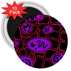 Purple and red abstraction 3  Magnets (10 pack)