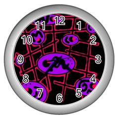 Purple and red abstraction Wall Clocks (Silver)