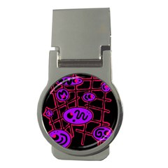 Purple and red abstraction Money Clips (Round)