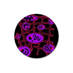 Purple and red abstraction Magnet 3  (Round)