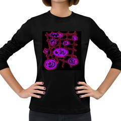 Purple and red abstraction Women s Long Sleeve Dark T-Shirts