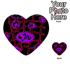 Purple and red abstraction Multi-purpose Cards (Heart)