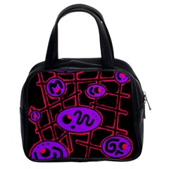 Purple and red abstraction Classic Handbags (2 Sides)