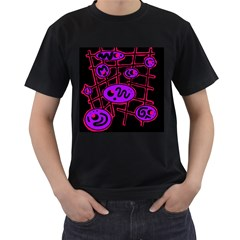 Purple and red abstraction Men s T-Shirt (Black)