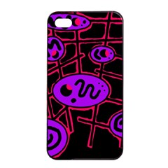 Purple and red abstraction Apple iPhone 4/4s Seamless Case (Black)