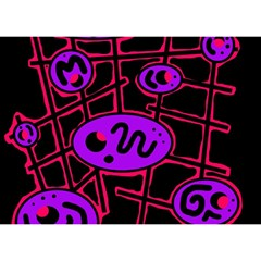 Purple and red abstraction Birthday Cake 3D Greeting Card (7x5)
