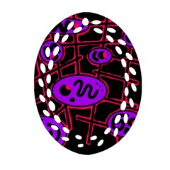 Purple and red abstraction Oval Filigree Ornament (2-Side)