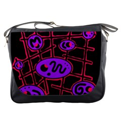 Purple and red abstraction Messenger Bags